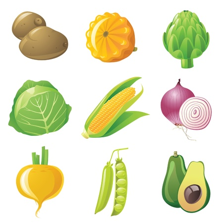 9 highly detailed vegetables icons set