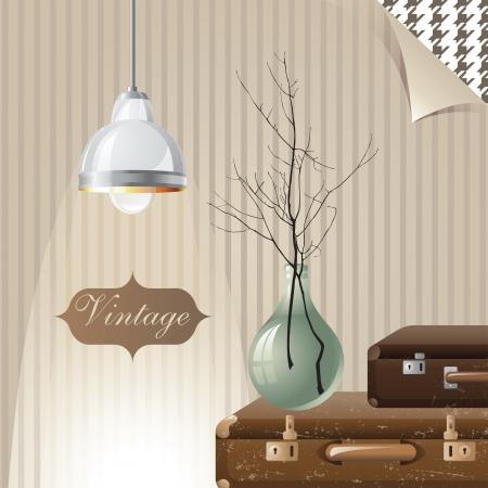 intérieur vintage avec des valises et des lampes