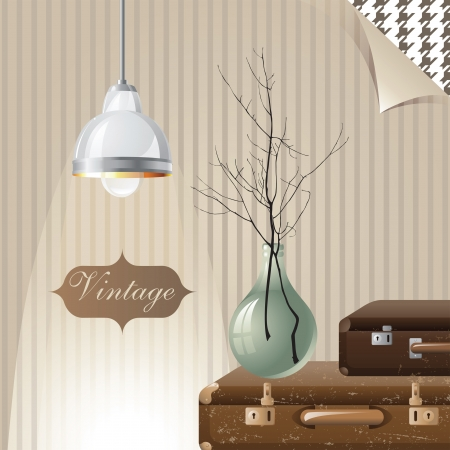 interior decoration: vintage interior with suitcases and lamp Illustration