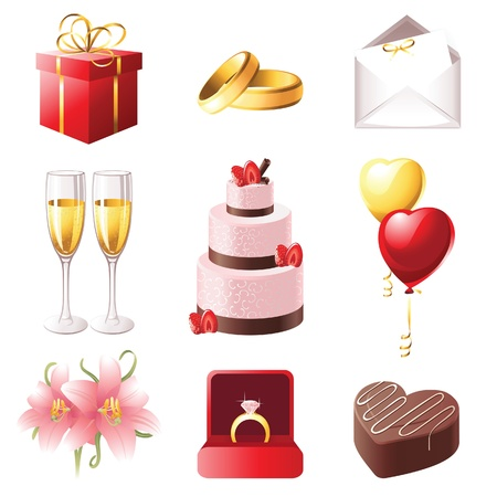 love and marriage icons set Illustration