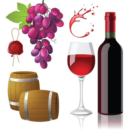 wine icons set Stock Vector - 13876368