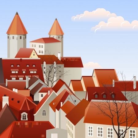 Small european town landscape Vector