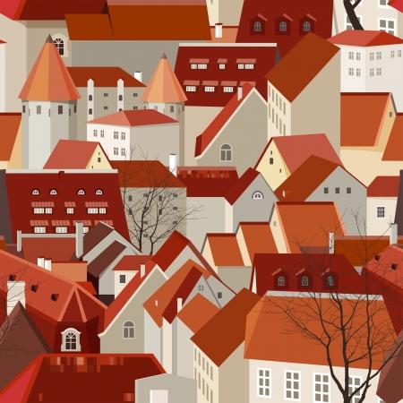 Naadloze stad landschap met pannendaken
