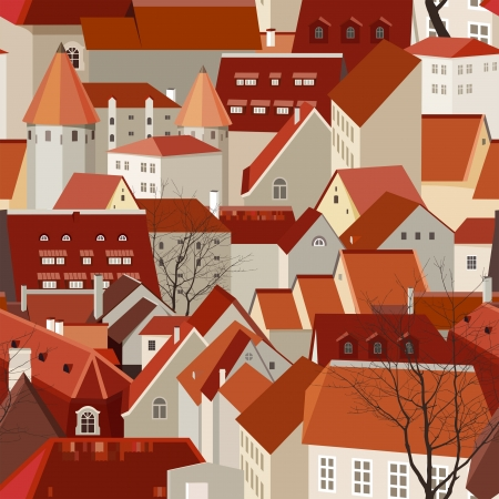 roof tile: Seamless city landscape with tile roofs Illustration