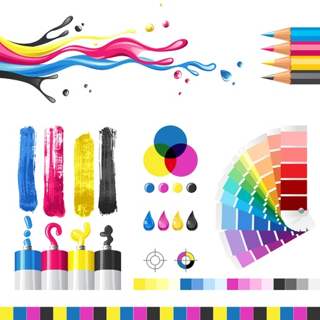 printer drawing: CMYK color mode design elements