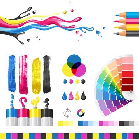 impresora: Modo de color CMYK elementos de diseño