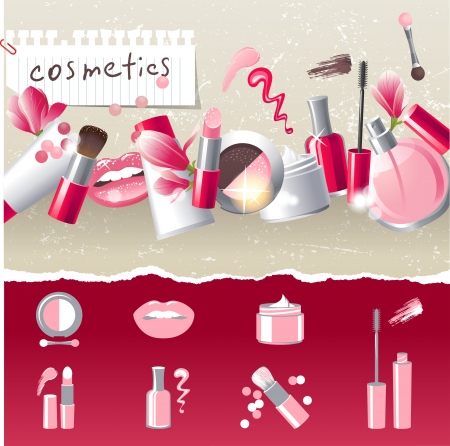 cosmetics products: Glamourous make-up border with 7 stylized icons