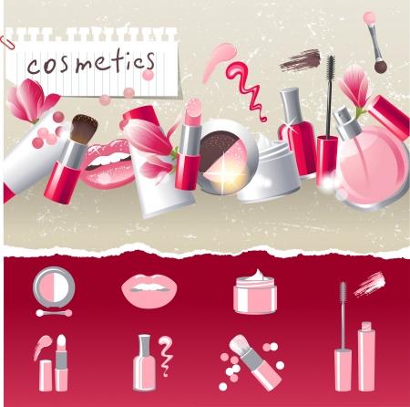 make up brush: Glamourous maquillaje frontera con 7 iconos estilizados Vectores