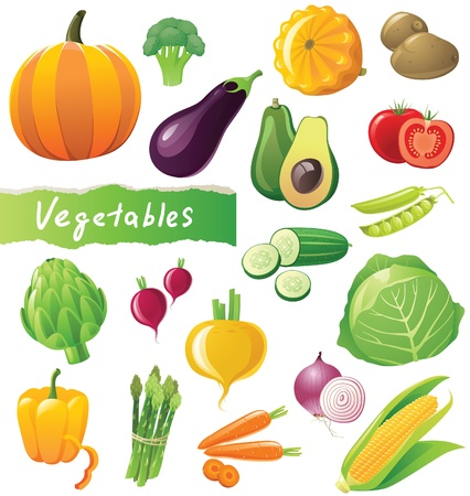 Fresh vegetables icons set