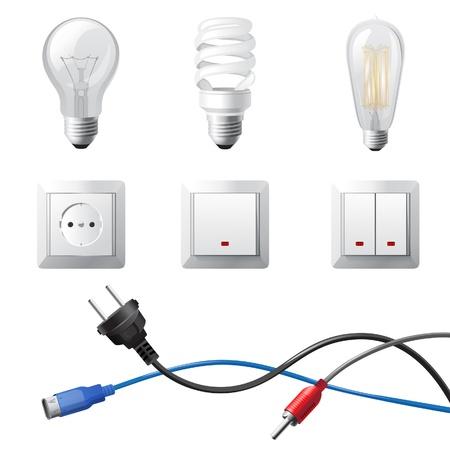 enchufe de luz: Dispositivos para el hogar altamente detallados electricidad establecido