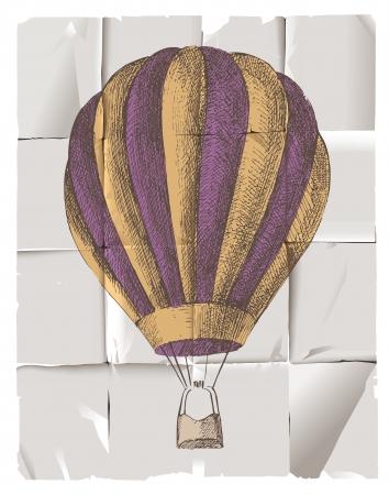 mid air: Globo de aire caliente en estilo retro