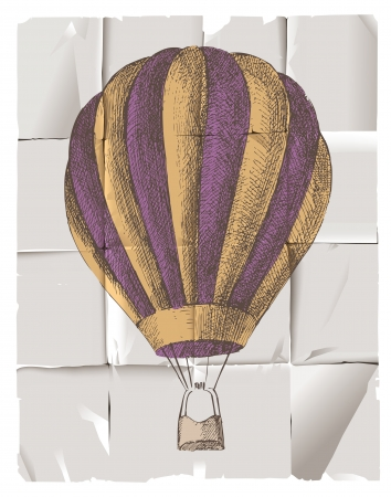 colored balloons: Hot air balloon in retro style