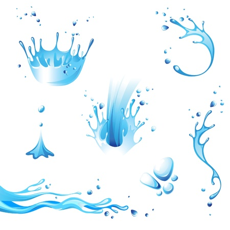 Water splash icons set