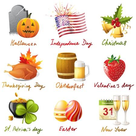 thanksgiving day symbol: Tutti i giorni festivi in ??1 set - 9 icone altamente dettagliate