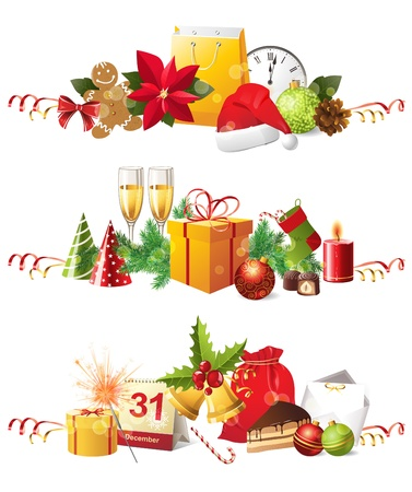 3 highly detailed Christmas borders Vector