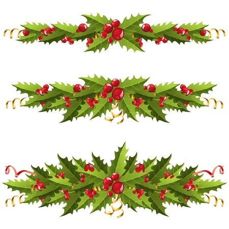 holly leaves: 3 highly detailed holly berry borders