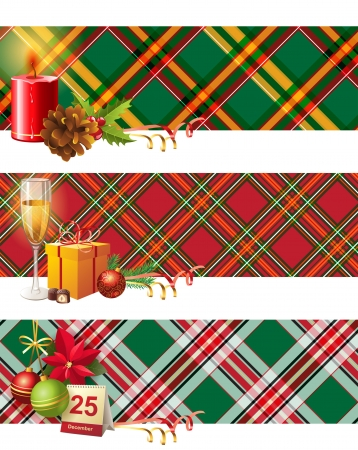 chequered ribbon: 3 bright Christmas banners Illustration