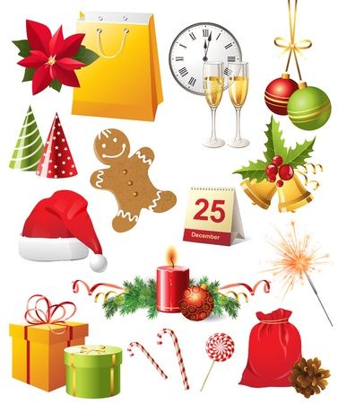 Bright Christmas design elements set Stock Vector - 14948383
