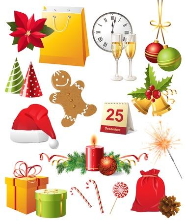 campanas navidad: Brillantes elementos de dise�o de Navidad establecer Vectores