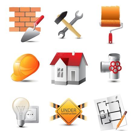 plumber with tools: Iconos altamente detallados de construcci�n establecido
