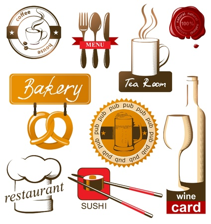Food and drink icons and logos Vector