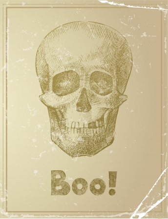 Retro-styled card with hand drawn skull Vector