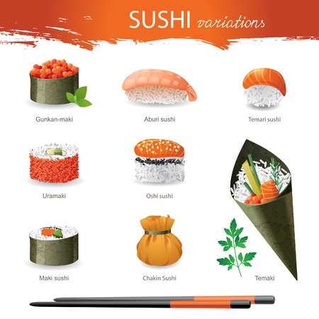 japanese culture: Great set of sushi variations