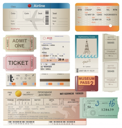 World traveller tickets collection Vector