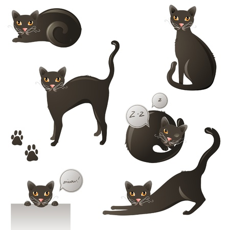 Yeloow - eyed black cat in 6 poses Vector