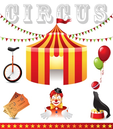 arts and entertainment: 6 highly detailed circus icons  Illustration