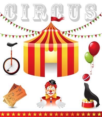 circus bike: 6 iconos altamente detallados del circo Vectores