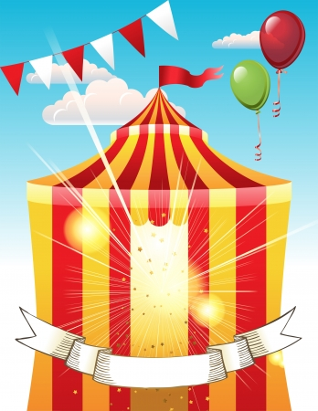 Bright background with striped circus tent Vector