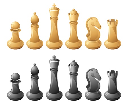 Black and white chessmans  Vector