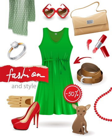 Fashion look - beauty clothers and accessories icons set Vector