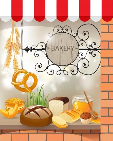 produits c�r�aliers: Boulangerie magasin vitrine Illustration