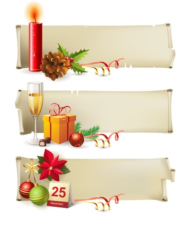 poinsettia: 3 highly detailed Christmas banners