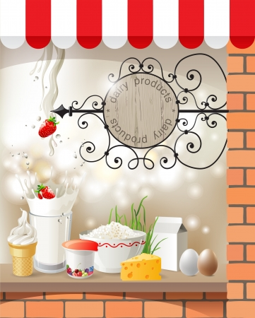 Highly detailed dairy store showcase Vector