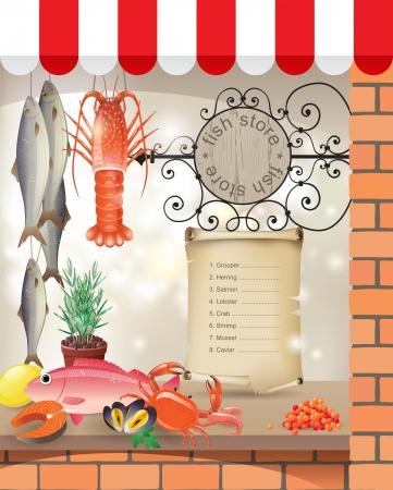 fish store: Peces altamente detallado escaparate tienda Vectores