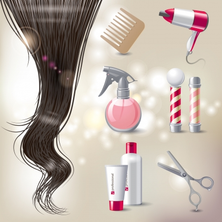 barber pole: Hair care icons set Illustration