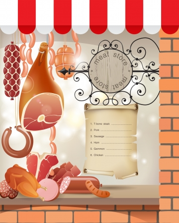 Highly detailed meat store showcase Vector