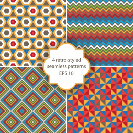 'retro styled': 4 bright geometry seamless patterns