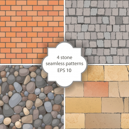 4 highly detailed stone seamless patterns