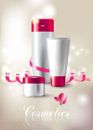 Beautiful background with cosmetics package Vector