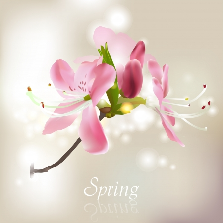 Spring blossom branch made with mesh Vector