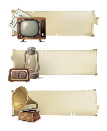 oil lamp: 3 vintage banners Illustration