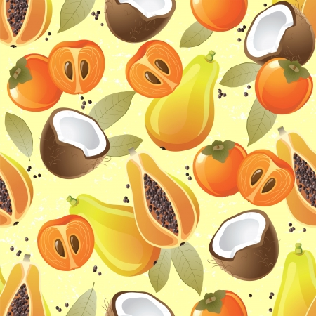 persimmon: Seamless ornament with exotic fruits - papaya, coconut and persimmon