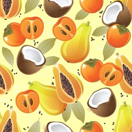 papaya: Seamless ornament with exotic fruits - papaya, coconut and persimmon