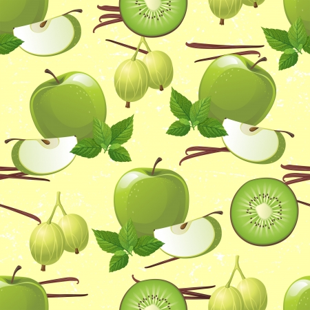 half apple: Seamless ornament with green fruits - apple, kiwi, gooseberry and mint