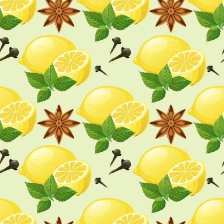 Nahtlose Muster mit Zitrone, Minze, Anis Sterne und Nelken