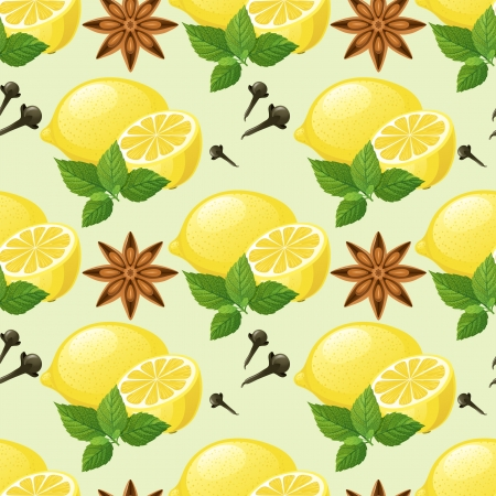 anise: Seamless pattern with lemon, mint, anise star and cloves